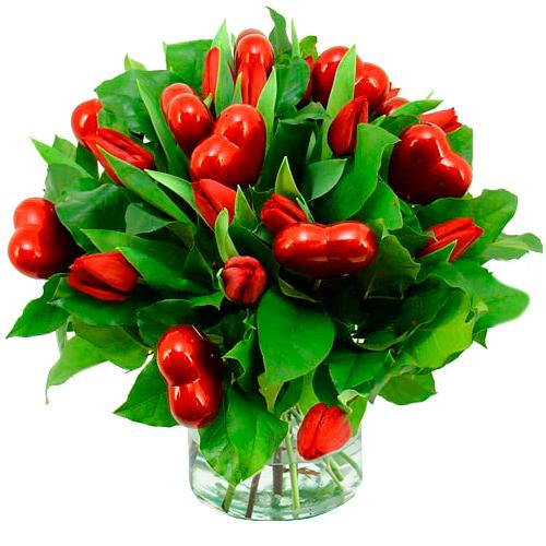 Boeket liefdes tulpen
