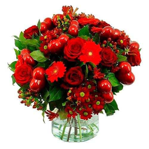 Valentijn boeket met rode hartjes