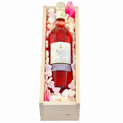 De Feestdagen | Lekkere rosé met hartjes snoepjesEen kaartje met persoonlijke tekst kunt u toevoegen na stap 3
