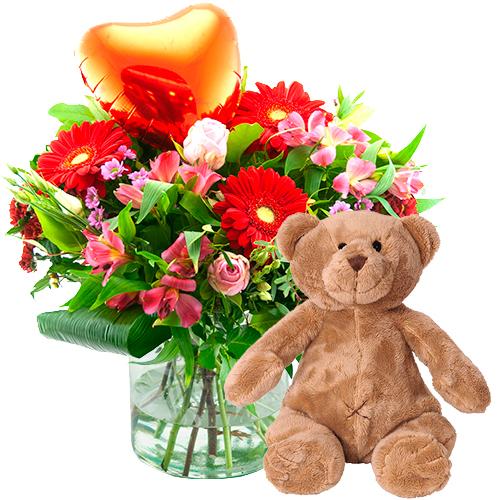 Valentijn boeket met beer