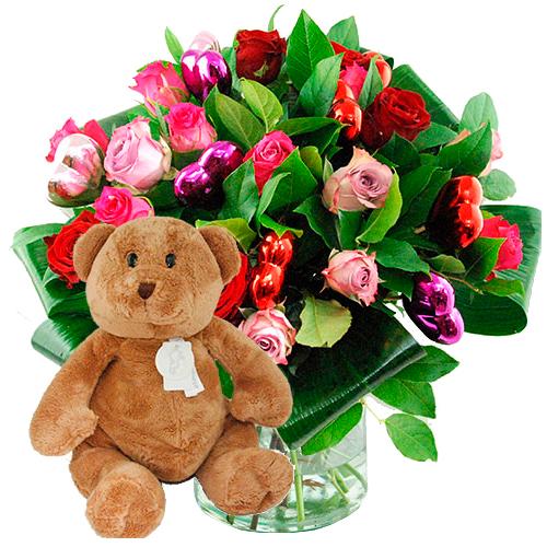 Valentijn boeket mix rozen + bruine beer