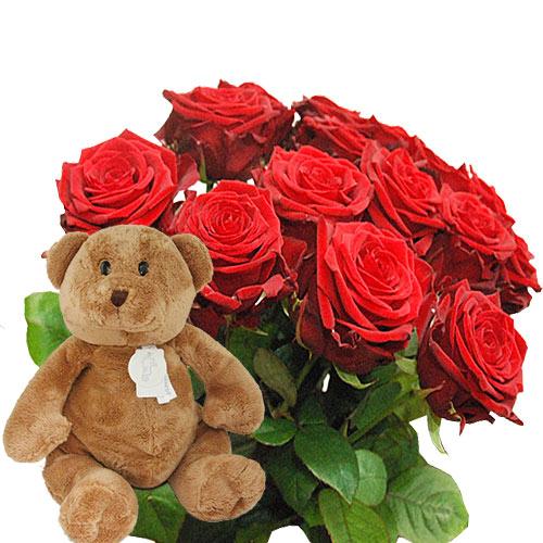 Lange rode rozen met beer