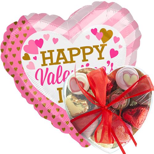 happy valentine's day pink/gold met valentijn bonbons