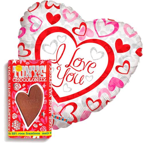 i love you hartjes ballon met valentijn tony's