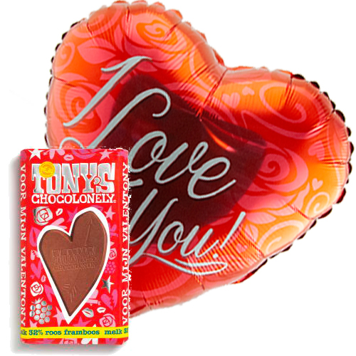 i love you rood ballon met valentijn tony's