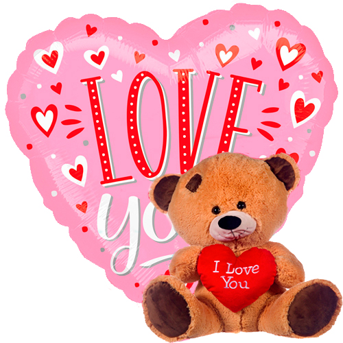 I love you roze/goud + beertje met hart