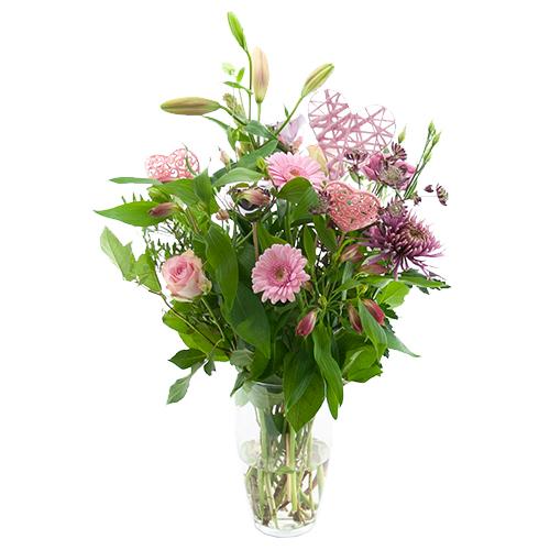 valentijn boeket roze