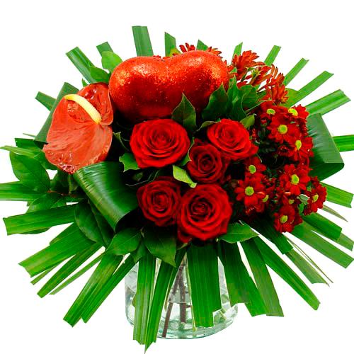 Valentijn boeket rood gegroepeerd